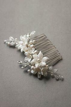 Antique Silver | A silver floral bridal comb for Kathy