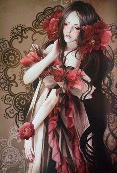 Chinese Painting, Chinese Art, Geisha Drawing, Oriental Tattoo, Painting Of Girl, Girl Paintings, Fantasy Pictures, Dark Anime, Dark Fantasy Art