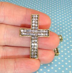 2 Crystal accented rhinestone cross connector charms
