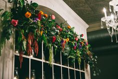 Flower garland backdrop -  Cool Restaurant Wedding | Blue Elephant Photography | Bridal Musings Wedding Blog 50