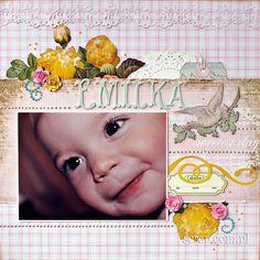 Scrap dla małej dziewczynki z papierowymi kwiatkami Latarni Morskiej