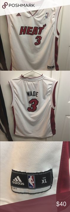 Dwayne Wade Miami Heat #3 Youth XL Authentic Dwayne Wade White Miami Heat #3 Youth XL Authentic. Very lightly worn. Great condition Adidas Shirts Tank Tops