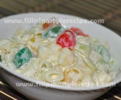 My hubby loves this for the holidays! Filipino sweet macaroni salad.