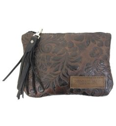 Monterey Leather Clutch - Brown Paisley Made in the U.S.A. - Always stylish with any outfit you pair it with!   http://www.copperriverbags.com/monterey-leather-clutch-brown-paisley/