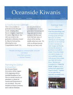 Oceanside Kiwanis June, 2014 Newsletter