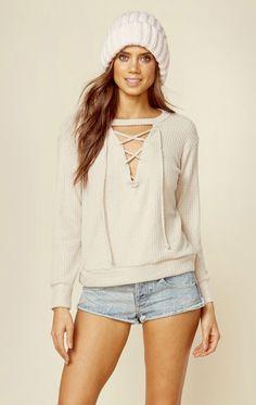 Lna clothing laced waffle sweater