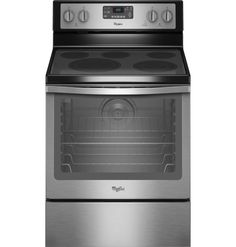 "Whirlpool - 30"" Self-Cleaning Freestanding Electric Convection Range - Black/Stainless-Steel - Front Zoom"
