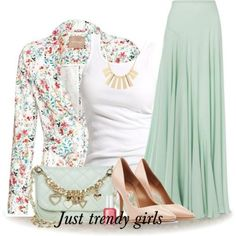 pleated mint maxi skirt, Floral blazer with maxi skirts http://www.justtrendygirls.com/floral-blazer-with-maxi-skirts/