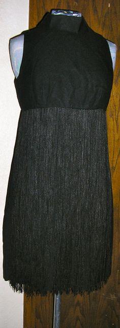 vtg 60s black mini fringed cocktail dress by ChloeandNatalieVtg, $95.00