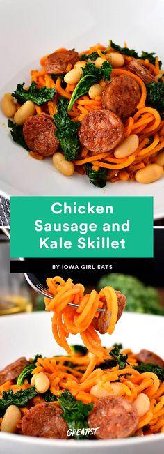 2. Chicken Sausage and Kale Skillet #greatist https://greatist.com/eat/sweet-potato-noodles