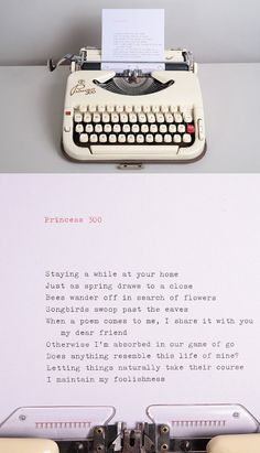 A poem by Ryokan, typed on a beautiful Princess 300 typewriter from the 1960s.