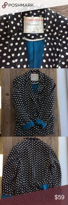 "Anthropologie Cartonnier Blazer Cartonnier blazer from Anthropologie in charcoal with cream polka dots. EUC. Beautiful blue lining. Sleeve length 23"". Overall length 26"". Shoulders 14"". Anthropologie Jackets & Coats Blazers"