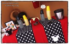 Mickey Mouse Birthday Party Ideas | Mickey Mouse on Napkin Dispenser and Black / Yellow Solo Cups