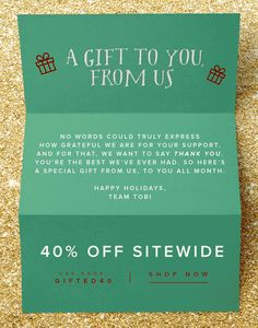 Tobi loyalty email. Subject line: You're Special On Our List | Shop 40% Off Sitewide. Animated, GIF