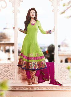 USD 138.47 Green Faux Georgette Kalidar Anarkali Salwar Suit  36018