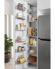 Is there anything better than an organised and functional pantry? Our pantry pullout baskets will help organise your everyday staples and get your cupboard looking neat and tidy, just the way we like it. Kitchen Pantry Design, Tidy Kitchen, Diy Kitchen Storage, Kitchen Cabinet Organization, Kitchen Cabinetry, Kitchen And Bath, New Kitchen, Pantry Organisation, Kitchen Reno