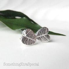 Silver Heart Earrings, Heart  Leaf Earrings, Stud Post Tiny Silver Wedding Earrings. $23.30, via Etsy.