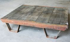 Vintage Industrial Coffee Table Pallet // Industrial Furniture
