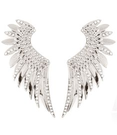 EARRING+/+POST+EARRING+/+EAR+CUFF+/+GRAND+/+ANGEL+WING+/+TEXTURE+/+CRYSTAL+STUDS+/+OVERSIZED+/+4+1+/+2+INCH+DROP  PACKAGE+CONTENTS:+2+EARRINGS+