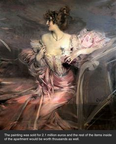 A painting of Madame de Florian, a french lady who left her Paris apartment in 1942 to flee the war to the south of France.  She never returned and her apartment was recently opened and found to be perfectly preserved from the day she left it.  The artist  was Giovanni Boldini.  A truly stunning masterpiece.