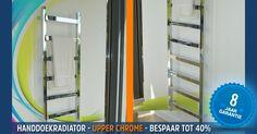 Handdoekradiator - Upper Chrome is een fraaie en opvallende radiator, verkrijgbaar in glad chroom, roestvrijstaal en in diverse kleuren.