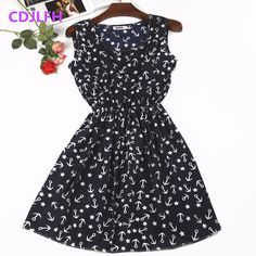 2018 Sexy Summer Autumn Print Vestidos Women Casual Bohemian Floral Sleeceless Vest Slim Beach Chiffon O-neck Dress Vintage Blue Sexy Dresses, Sexy Summer Dresses, Casual Dresses, Dress Outfits, Casual Clothes, Clothes 2019, Dress Vintage, Autumn