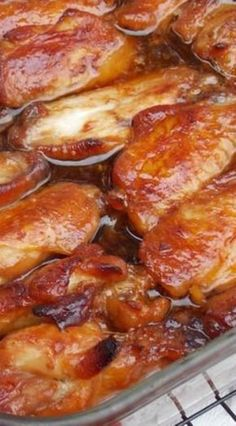Easy marinade and sauce makes perfectly caramelized baked chicken. Caramelized Baked Chicken Legs and/or Wings is the best budget-friendly, easy, and scrumptious recipe. Baked Chicken Recipes, Turkey Recipes, Meat Recipes, Appetizer Recipes, Dinner Recipes, Cooking Recipes, Healthy Recipes, Appetizers, Cooking Ribs