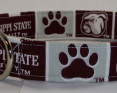 Mississippi State Bulldogs designer buckle dog collar OR martingale dog collar OR Leash Set