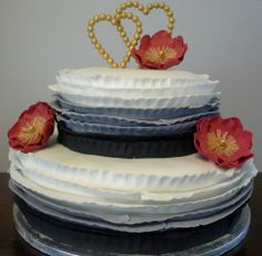 Wedding cake with ombre ruffles