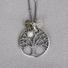 Tree of Life Necklace with pearl and clear and green beads on the tree pendant ... www.TreeOfLifeJewellery.com ... #treeoflifejewelry #treeoflife #treeoflifenecklace #treeoflifependant #celticjewelry