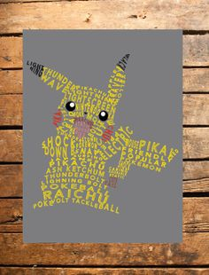 Pokemon Pikachu Typography Digital Print by TaracottaSunrise, $12.00