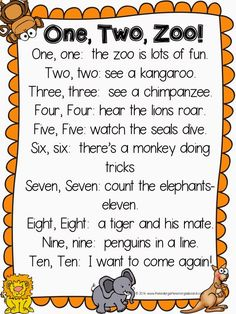 One, Two ZOO! A fun poem for your zoo unit! Also great for reading number words!One, Two ZOO! A fun poem for your zoo unit! Also great for reading number words! Preschool Zoo Theme, Preschool Poems, Kids Poems, Preschool Activities, Kindergarten Poems, Number Songs Preschool, Children Songs, Preschool Music, Therapy Activities