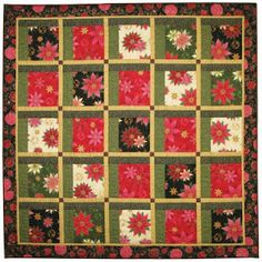 "~ free pattern ~ Christmas Windows, 61 x 61"", free pattern by Diane Nagle for P Textiles.  This quilt has the appearance of attic windows, but it is made with straight strips."