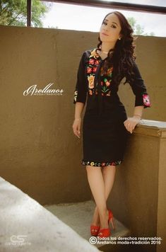 Mexican embroidered dress - Cristina Arellano's Folklor a la Moda Mexican Fashion, Mexican Outfit, Mexican Dresses, 15 Dresses, Fashion Dresses, Vestido Charro, Traditional Mexican Dress, Mexican Embroidered Dress, Fiesta Outfit