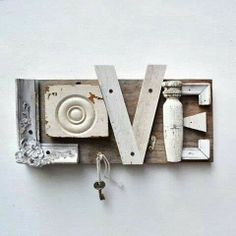 typography love architectural salvage sign letters L O V E ORIGINAL ART by Elizabeth Rosen. Inspiration only. Articles En Bois, Wood Projects, Craft Projects, Craft Ideas, Wood Crafts, Diy Crafts, Typography Love, Typography Letters, Typography Poster