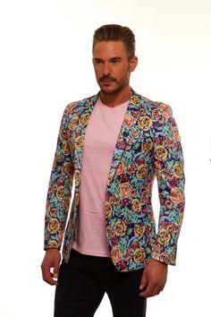 Men's Blazer by Suslo Couture - Floral / Blue