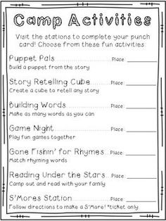 Family Literacy Night Materials in a Camping Theme - Editable Math Night, Night School, Summer School, Parent Night, Family Fun Night, Literacy Day, Coaching, Word Building, School Themes