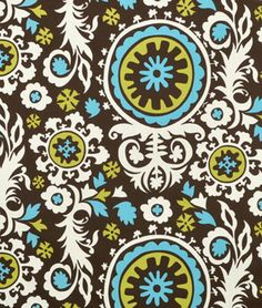 Premier Prints Suzani Chocolate/Natural Fabric - $9.98 | onlinefabricstore.net