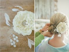 An Enchanted Barn Wedding In Hillsdale, WI filled with rustic green and white wedding details. Wedding Hair And Makeup, Wedding Beauty, Dream Wedding, Floral Fascinators, Renewal Wedding, Wedding Braids, Special Occasion Hairstyles, Wedding Inspiration, Wedding Ideas