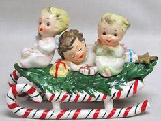 Just Plain Awesome Vintage LEFTON Christmas Angel Kids on Tree Cvd Sled