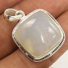 925 Solid Sterling Silver Natural WHITE AGATE Gemstone Charming Pendant Exporter #Unbranded #Pendant