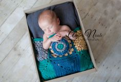 Mini patchwork afghans feature unique blocks of texture and colors in teal, gold, gray and ocean. The unique style and design of this blanket is created in soft acrylic fiber and measures 18x18 inches. Patchwork afghans are must have props and can be used as layers, basket fillers, beanbag accents to add a unique touch to your newborn sessions. Each one is hand created and designed just for your prop stash. ReiLynn Designs ~ Unique Photography Props for Creative Newborn Photographers. ~Buy…