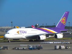 Thai Airways Airbus A380 Taxing to Gate at Tokyo Narita Airport