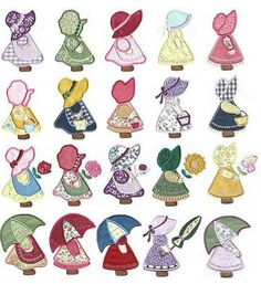 My Sunbonnet Sue designs. I still have my grand mothers Sunbonnet Best Photos of Embroidery And Applique Sunbonnet Sue Pattern - Sunbonnet Sue Quilt Pattern, Sunbonnet Sue Applique Embroidery Designs and Free Sunbonnet Sue Embroidery DesignsSunbo Quilt Patterns Free, Applique Patterns, Applique Quilts, Applique Designs, Embroidery Applique, Machine Embroidery, Embroidery Stitches, Kurti Embroidery, Embroidery Tattoo