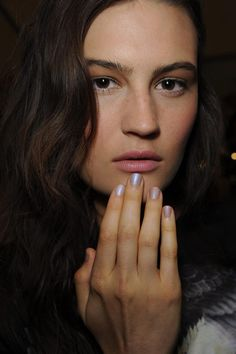 Femininity with a glistening, textured effect by using Butter London 'Yummy Mummy', 'Hen Party' and 'Matte Finish Topcoat'