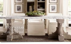 RH's Rectangular Table Collections:At Restoration Hardware, you'll explore an exceptional world of high quality unique dining room furniture. Browse our selection of dining room furniture sets & more at Restoration Hardware. Formal Dinning Room, Dining Room Furniture Sets, Dining Rooms, Trestle Dining Tables, Dining Room Inspiration, Slipcovers For Chairs, Farmhouse Table, Restoration Hardware, Harvest Tables