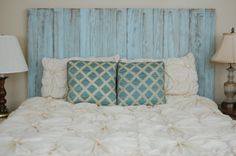 Hanger * Full Headboard - Baby Blue Color. Made with 3 Barn Walls blocks. Hang on the wall like picture frames. Easy Installation