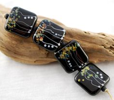 Tree Tops a set of 4 square shape glass beads in by jperaladesigns, $28.00