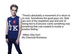 My Chemical Romance Mossaic! Mcr Quotes, Mcr Memes, Band Quotes, Band Memes, Breaking Benjamin, Papa Roach, Mikey Way, Garth Brooks, Emo Bands