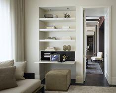Built in shelves & fold down desk Built In Desk, Built In Shelves, Hidden Desk, Architecture Design Concept, Interior Architecture, Home Office, Office Nook, Fold Away Desk, Interior Design Advice